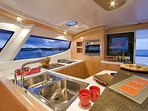 Spacious, fully furnished kitchen with views of the ocean!