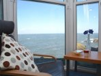 Enjoy the uninterrupted sea views from the lounge