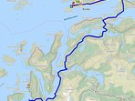 Driving route from the airport in Bodø to my house