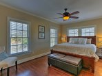 The master bedroom, perfect for couples, features a cozy king bed.