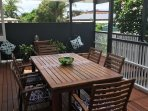 Large, shady & private back deck for alfresco dining