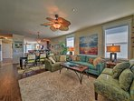 The interior is well-appointed with comfortable furniture and tasteful decor!