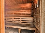The community amenities include a sauna and fitness center!