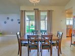 Cozy around the 6-person dining room table for delicious feasts.