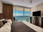 Nicely decorated bedroom with an amazing view of the gulf of Mexico