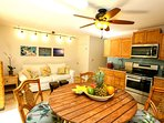 Relax and unwind in your fully stocked kitchen and seating for four.