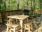 Outdoor dining and gas grill steps away from the kitchen. Year round mountain views.
