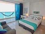 Bedroom 2 has full en suite bath & queen bed