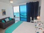 Bedroom 2 has full en suite bath & queen bed; blackout curtains
