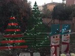 GARDEN WITH CHRISTMAS DECORATIONS