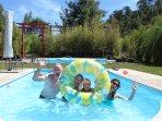 The heated swimmingpool 300m from Casa Matsu on the main terrain of Quinta Japonesa.
