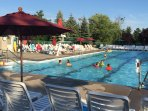 The olympic-sized outdoor pool is perfect for relaxing poolside days.