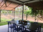 Alfresco 8x dining, BBQ, private and secure yard surrounded by natural landscape