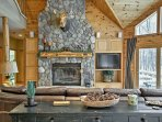 Keep warm on those snowy winter days in front of the wood-burning fireplace.