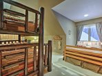 An entire family can share this room, complete with a queen bed and twin-over full bunk bed.