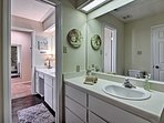 The double vanity provides ample counter space for couples!