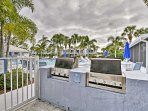 Grill up dinner using the 2 community gas grills.