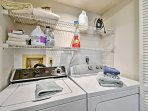In-unit laundry machines make washing a cinch.