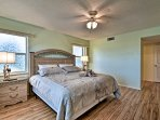 Each of the bedrooms have a ceiling fan to cool off the room.