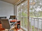The second bedroom is situated next to an enclosed office space in case you need to do some work during your stay.