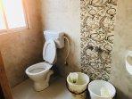 Washing with European style toilet.