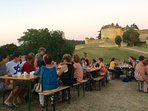 In July and August locals and visitors alike enjoy a weekly marche gourmand at Ch. Fenelon.