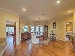 Wood flooring meets your feet throughout the open floor plan.
