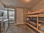"""Bedroom 4 with Twin Over Twin Bunk Bed, 32"""" TV w/DVD and Shared Bath Access"""
