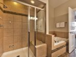 Master Bath with Dual Sinks, Steam Shower and Jetted Tub