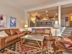 Main Level - Living Room with Comfortable Leather Furnishings, 60' LG Smart TV, Blu-ray DVD, Gas Fireplace, Kitchen and...