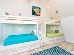 Bunks have two twin mattresses on the top, two full mattresses on the bottom,...