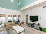 Living room has access to large balcony and 2 King bedrooms on the first floor.