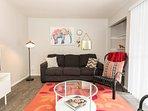 Open living room with queen sofa sleeper