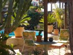 tropical garden with private 3 x 6 m pool with sea views, 10 meters to the beach!
