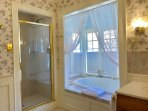 Downstairs Bath With Six Foot Jetted Tub and Separate Marble Walk-in Shower