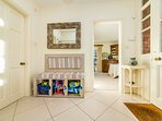 Sands entrance with toys, beach chairs/windbreaks/toys.  Small wc off entrance hall