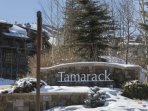 Here is the entrance to the Tamarack Complex - the building in the background is the ski school building.