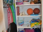 Games, beach toys, beach chairs and beach towels available for your use.