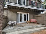 The outdoor space features several shared amenities, including spacious patio areas.