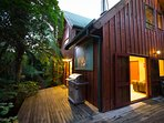 Wrap-around veranda with BBQ and views over the river.