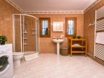 Bathroom with toilet, basin and shower cabin for the last bedroom (ground floor)