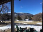 View of Whiteface Mountain and the patio from the living area.