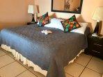 Camera da letto con letto king size, elettrico radio sveglia da tavolo, nuove lampade, e nuovo grande Smart TV