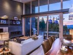Comfortable living room with views of the mountain