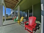 Soak up the sun while lounging on the colorful patio chairs!
