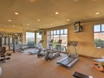 Keep up your fitness in the spacious workout room!