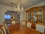 The formal dining room is great for special occasions and celebration meals!