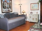 Day bed in living room with comfortable memory foam mattress