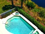 Birds-eye view of private pool