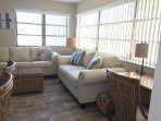 Love seat provides additional seating.